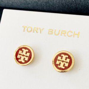 Tory Burch Red Logo Earrings